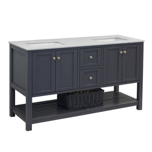 lakeshore 60 charcoal gray bathroom vanity carrara marble