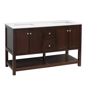 "Lakeshore 60"" Brown Shaker Bathroom Vanity Quartz Top"