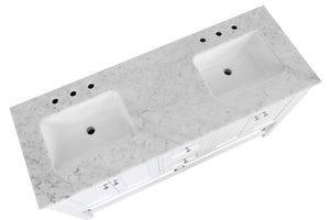 Lakeshore 60-inch Double Vanity with Carrara Marble Top