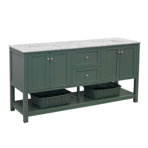 Lakeshore 72-inch Double Vanity with Carrara Marble Top