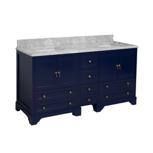 Madison 72-inch Double Vanity with Carrara Marble Top