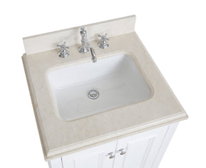 Nantucket 24-inch Vanity with Crema Marfil Top