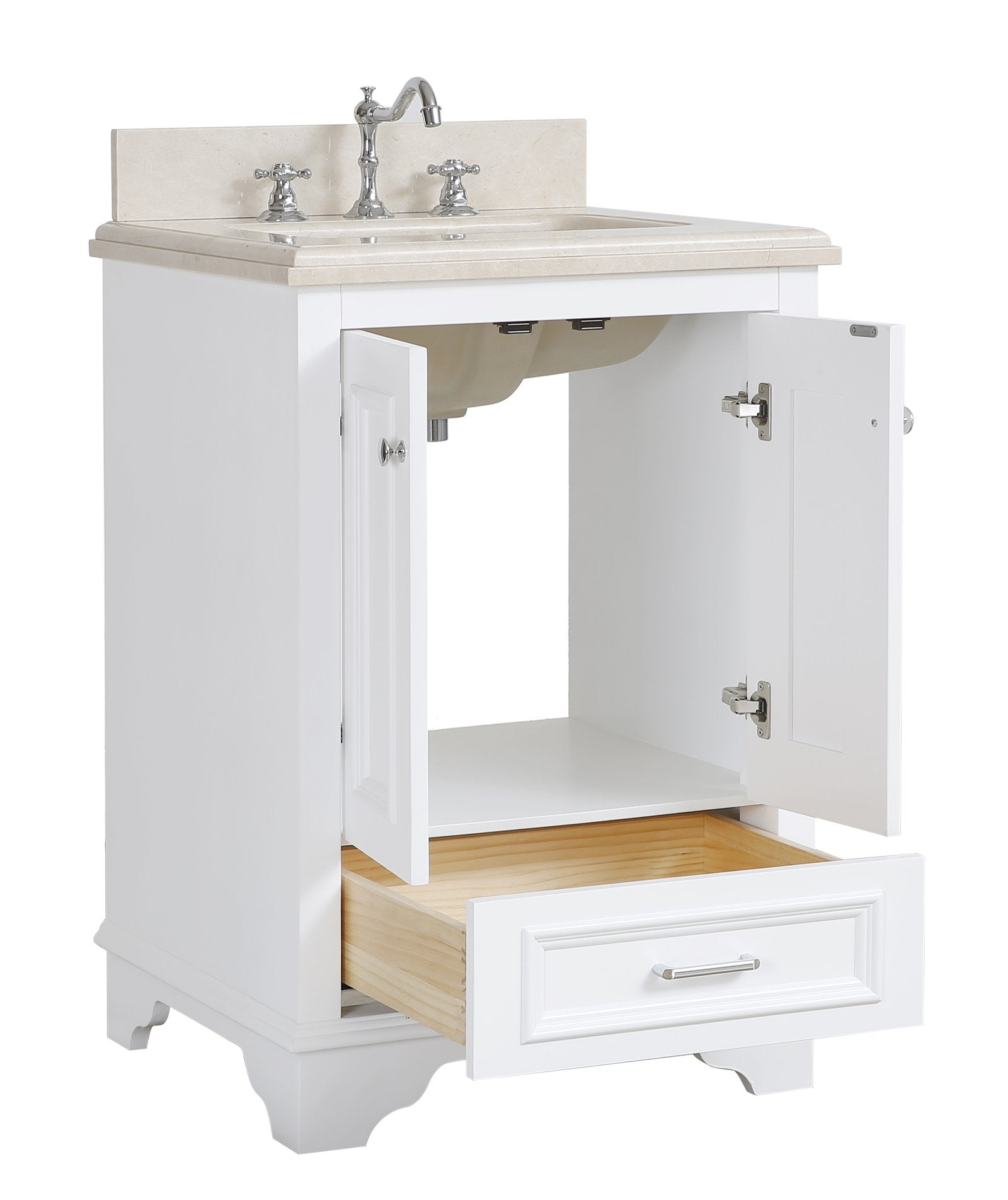 Nantucket 24 Traditional Bathroom Vanity With Crema Marfil Top Kitchenbathcollection