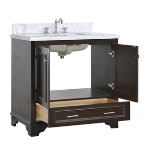 Nantucket 36-inch Vanity with Carrara Marble Top
