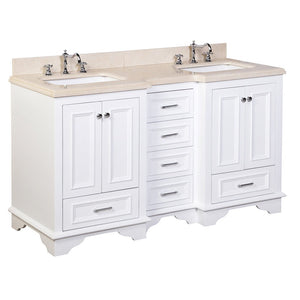 Nantucket 60-inch Double Vanity with Crema Marfil Top
