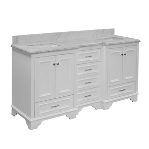 Nantucket 72-inch Double Vanity with Carrara Marble Top