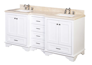 Nantucket 72-inch Double Vanity with Crema Marfil Top