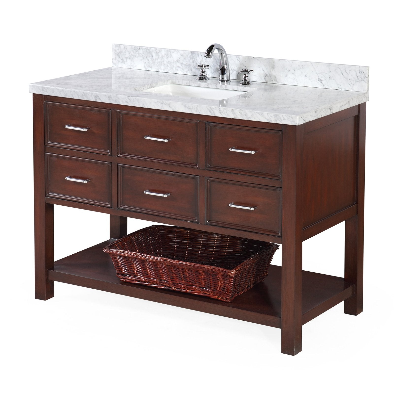 New Hampshire 48 Single Bathroom Vanity With Carrara Marble Top Kitchenbathcollection