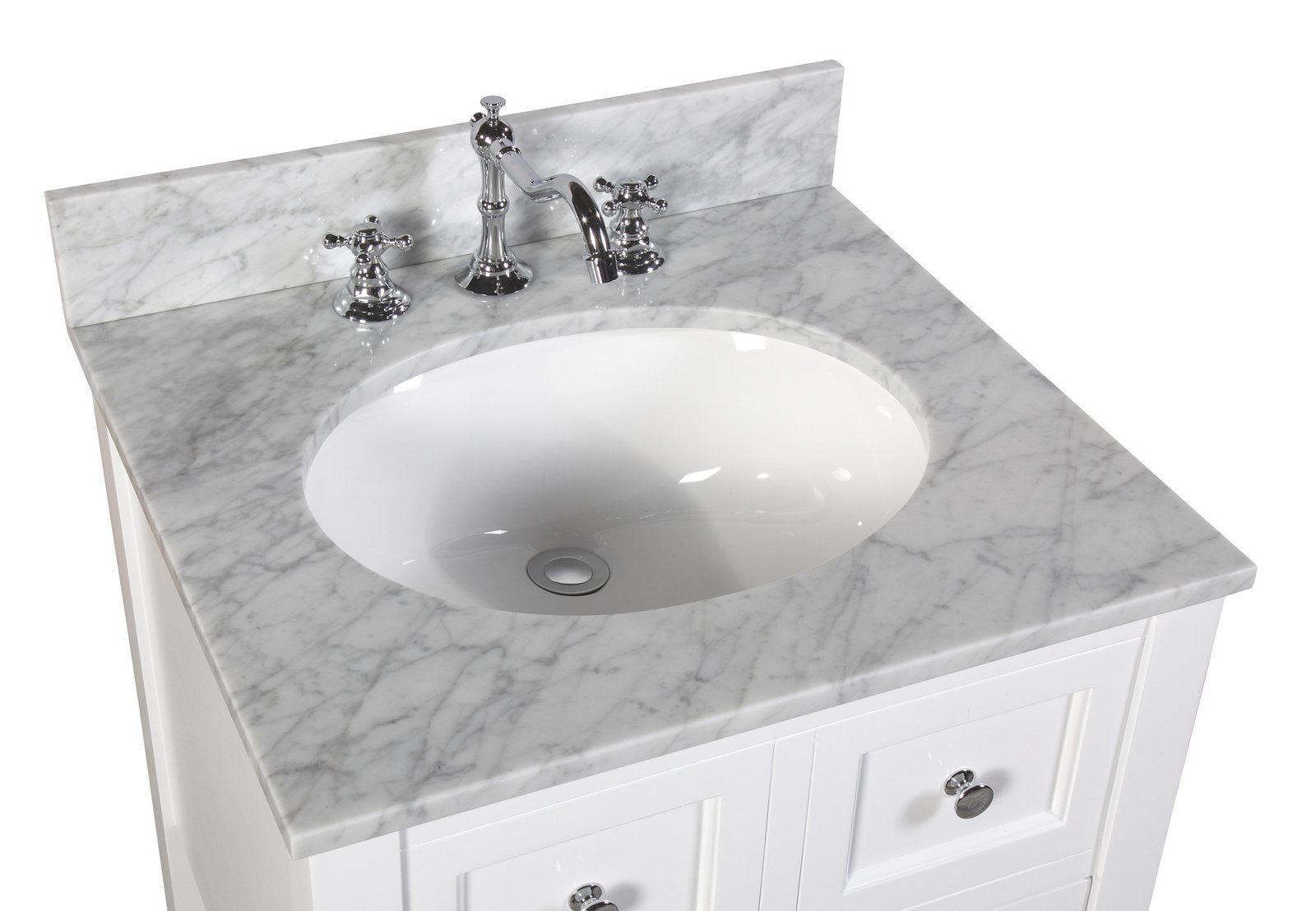 New Yorker 24 Modern Bathroom Vanity With Carrara Marble Top Kitchenbathcollection