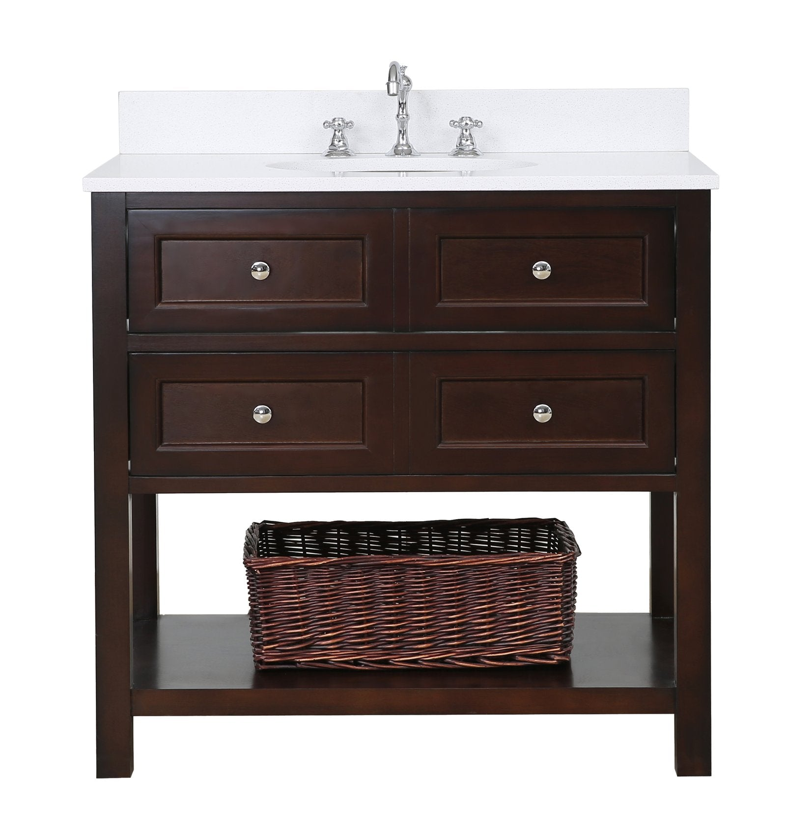"New Yorker 36"" Modern Bathroom Vanity with Quartz Top ..."