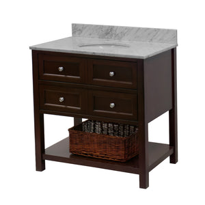 New Yorker 36-inch Vanity with Carrara Marble Top