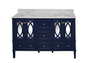 Olivia 60-inch Double Vanity with Carrara Marble Top
