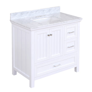 paige 36 inch white bathroom vanity carrara marble