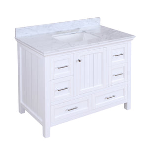 paige 42 white bathroom vanity carrara marble
