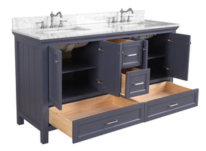 Paige 60-inch Double Vanity with Carrara Marble Top