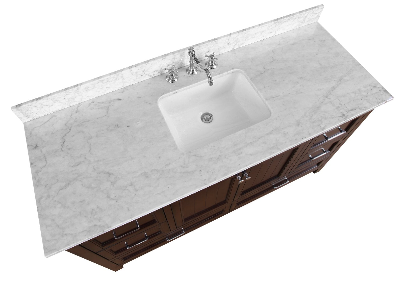 Paige 60 Single Sink Bathroom Vanity With Carrara Marble Top Kitchenbathcollection