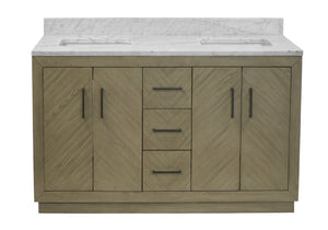 Peyton 60-inch Double Vanity with Carrara Marble Top