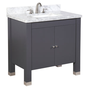 Riley 36-inch Vanity with Carrara Marble Top