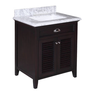 Savannah 30-inch Vanity with Carrara Marble Top