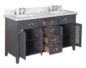 Savannah 60-inch Double Vanity with Carrara Marble Top