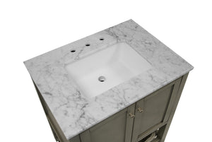 Lakeshore 30-inch Vanity with Carrara Marble Top
