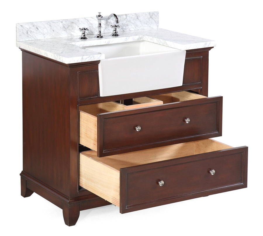 Sophie 36-inch Farmhouse Vanity with Carrara Marble Top