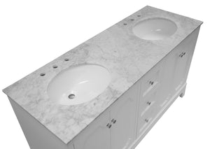 Starboard 60-inch Double Vanity with Carrara Marble Top