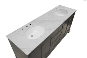 Starboard 72-inch Double Vanity with Carrara Marble Top