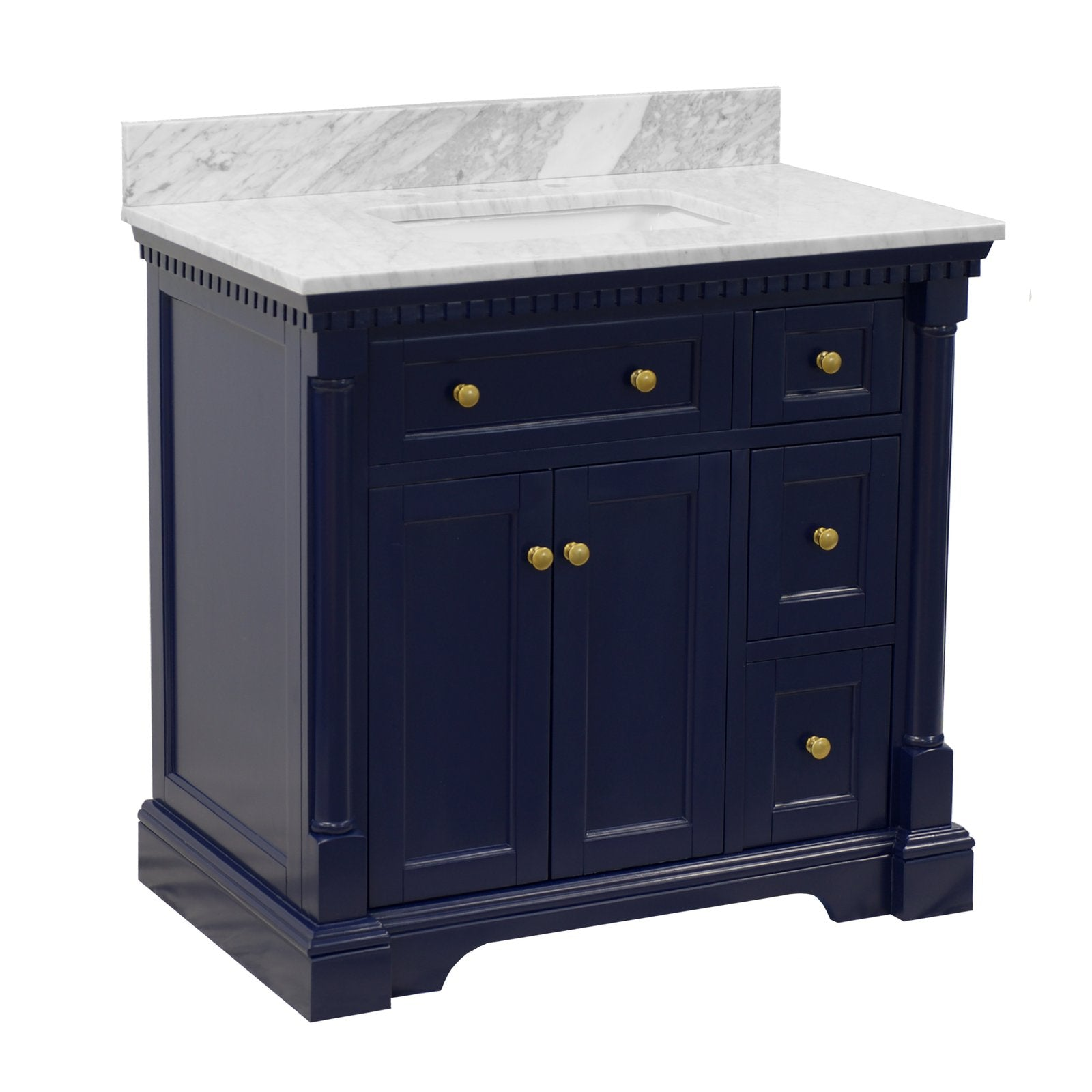 Sydney 36-inch Royal Blue Bathroom Vanity with Carrara Marble Top