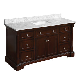 sydney 60 inch chocolate bathroom vanity carrara marble