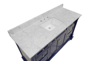 Sydney 60-inch Single Vanity with Carrara Marble Top