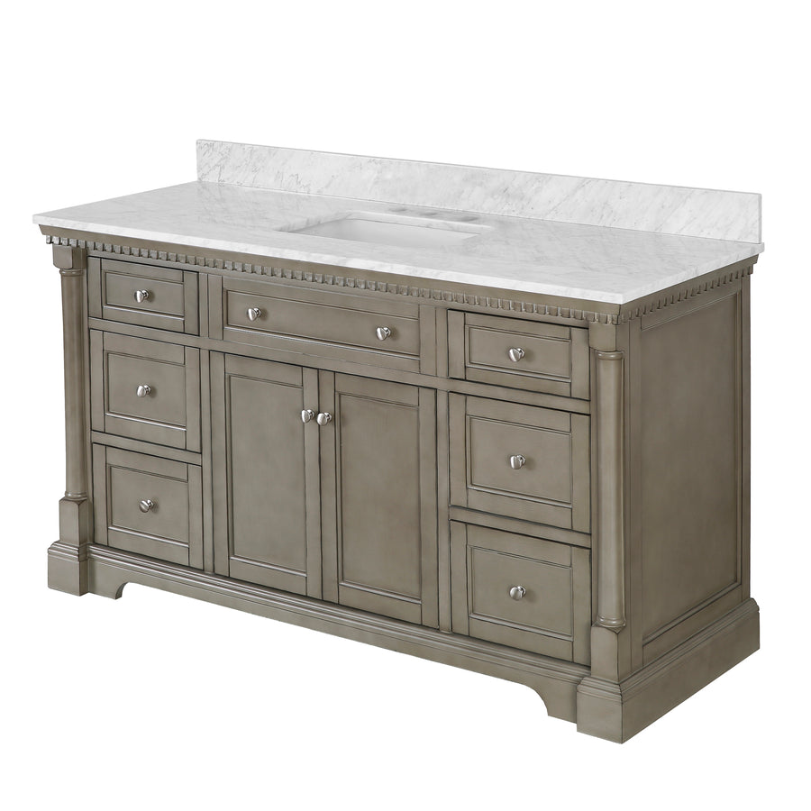 sydney 60 inch weathered gray bathroom vanity carrara marble