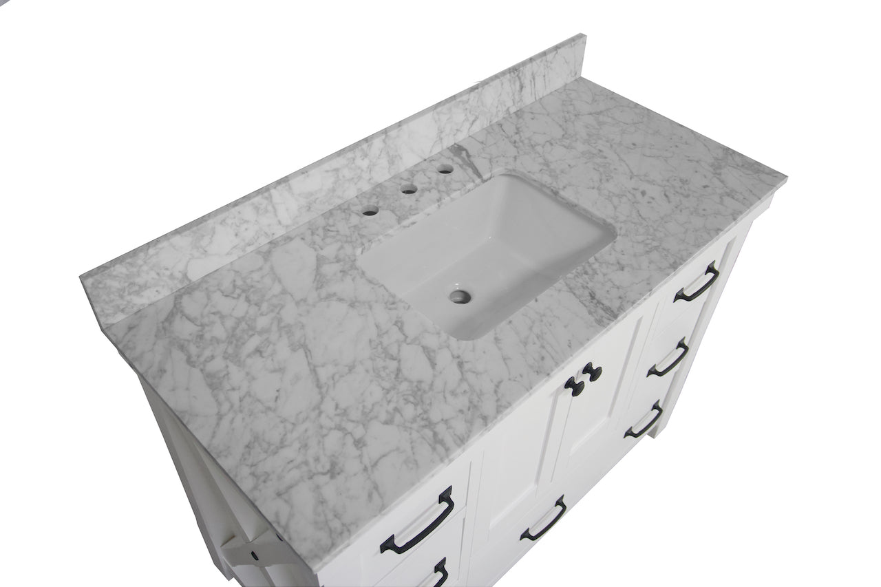 Carrara//Driftwood Includes Driftwood Cabinet with Authentic Italian Carrara Marble Countertop and White Ceramic Sink Tuscany 48-inch Bathroom Vanity