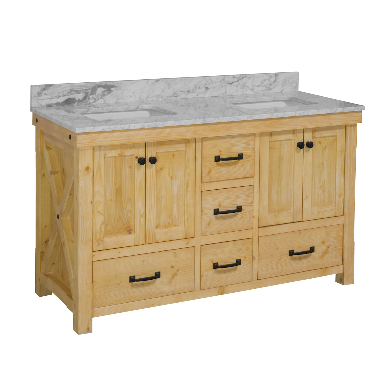 Tuscany 60 Rustic Double Sink Bathroom Vanity With Carrara Marble Top Kitchenbathcollection