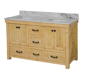 Tuscany 60-inch Double Vanity with Carrara Marble Top