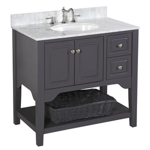 Washington 36-inch Vanity with Carrara Marble Top