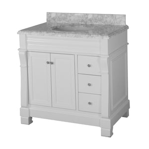 Westminster 36-inch Vanity with Carrara Marble Top