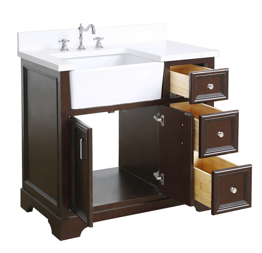 Zelda 36-inch Farmhouse Vanity with Quartz Top