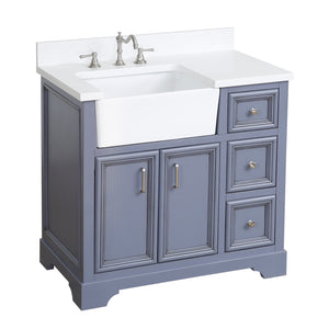 Zelda 36-inch Farmhouse Vanity (Quartz/Powder Gray)
