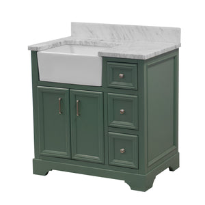 Zelda 36-inch Farmhouse Vanity with Carrara Marble Top