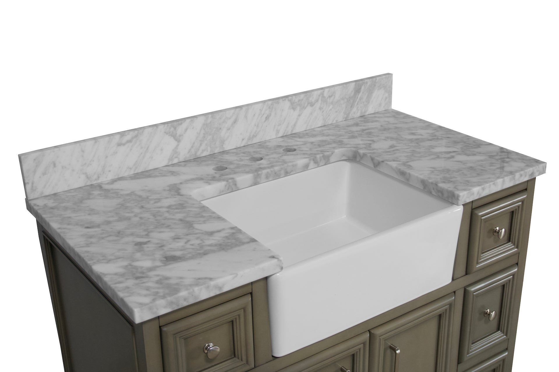 Zelda 42 Inch Farmhouse Bathroom Vanity Apron Sink Carrara Marble Kitchenbathcollection