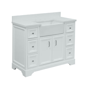 zelda 42 inch white single sink bathroom vanity quartz