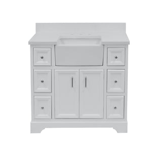 Zelda 42-inch Farmhouse Vanity with Quartz Top