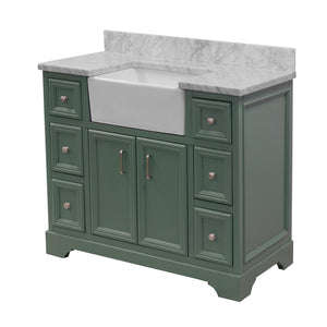 Zelda 42-inch Farmhouse Vanity with Carrara Marble Top