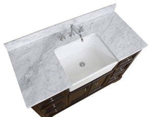 Zelda 48-inch Farmhouse Vanity with Carrara Marble Top