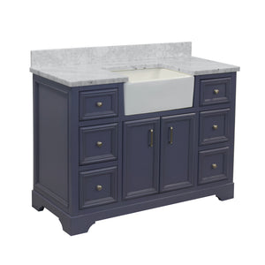 zelda 48 inch bathroom vanity powder gray carrara marble