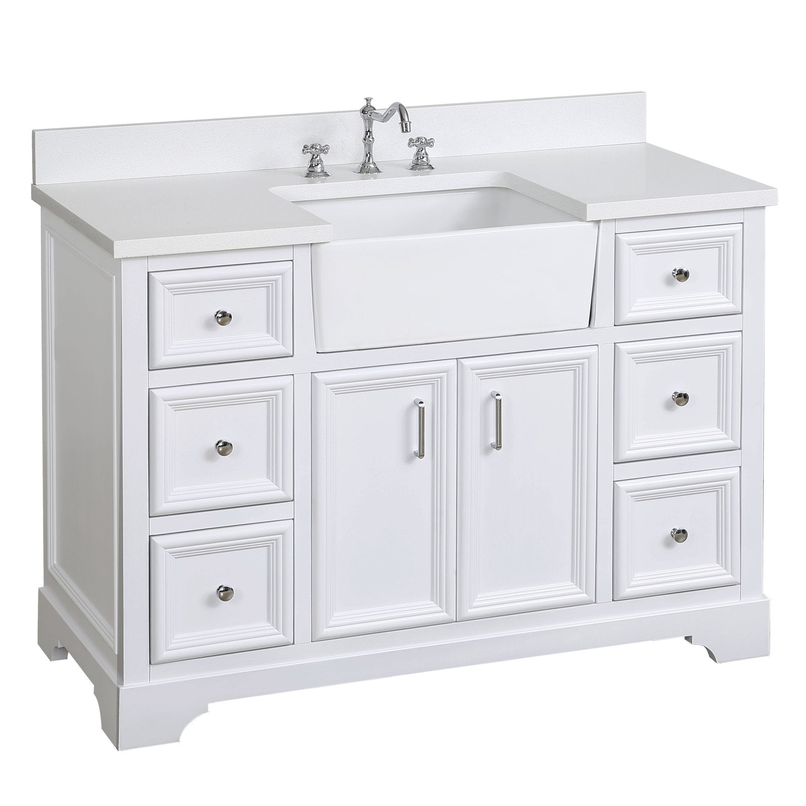 Zelda 48 Farmhouse Bathroom Vanity With Apron Sink Quartz Top Kitchenbathcollection