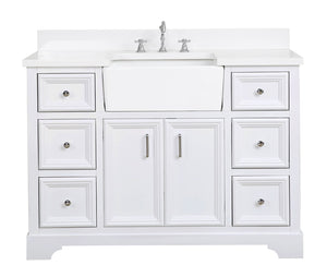 Zelda 48-inch Farmhouse Vanity with Quartz Top