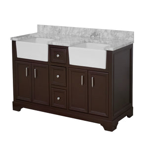 Zelda 60-inch Double Farmhouse Vanity with Carrara Marble Top
