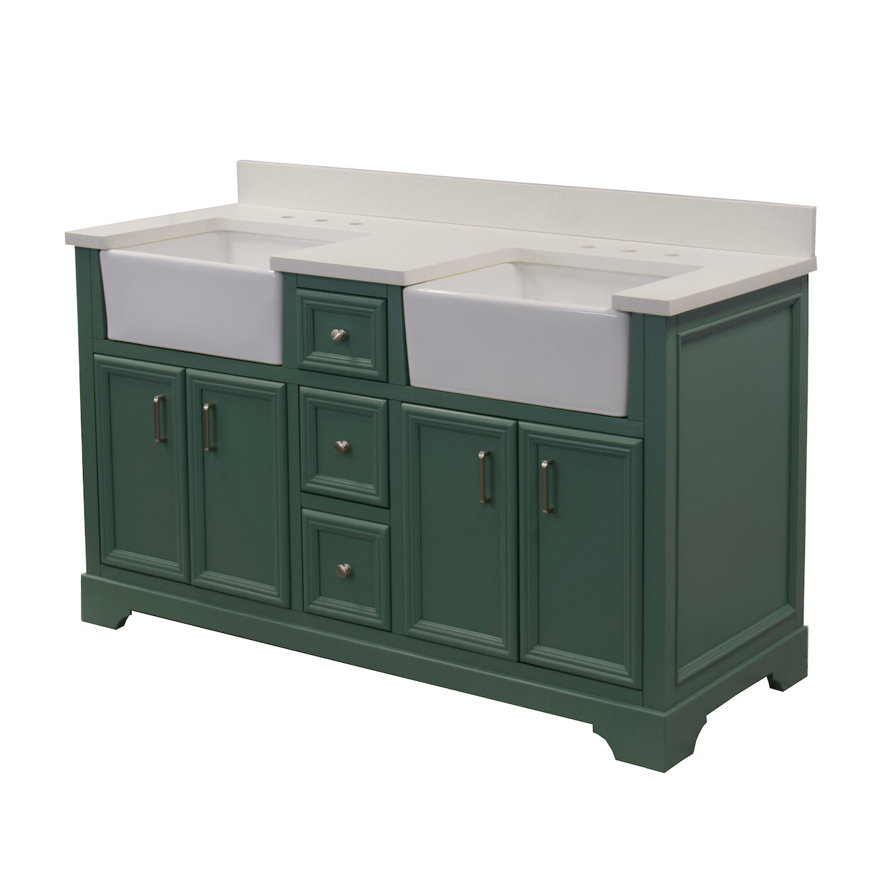 Zelda 60 Double Farmhouse Bathroom Vanity With Quartz Top Kitchenbathcollection